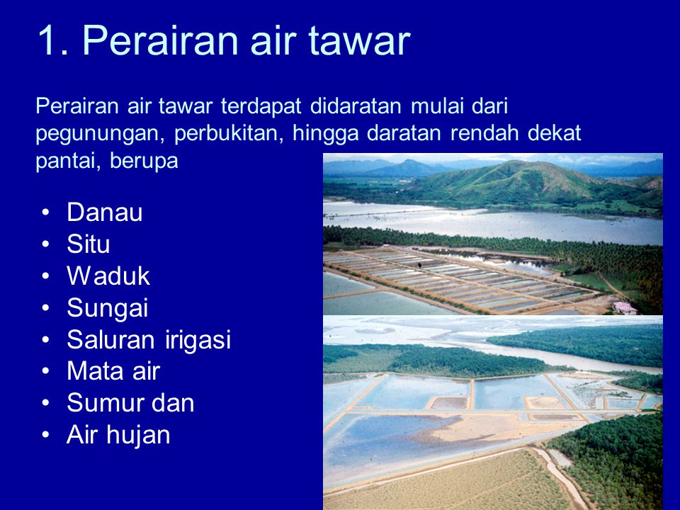 1. Perairan air tawar Perairan air tawar terdapat didaratan mulai dari pegunungan, perbukitan, hingga daratan rendah dekat pantai, berupa •Danau •Situ