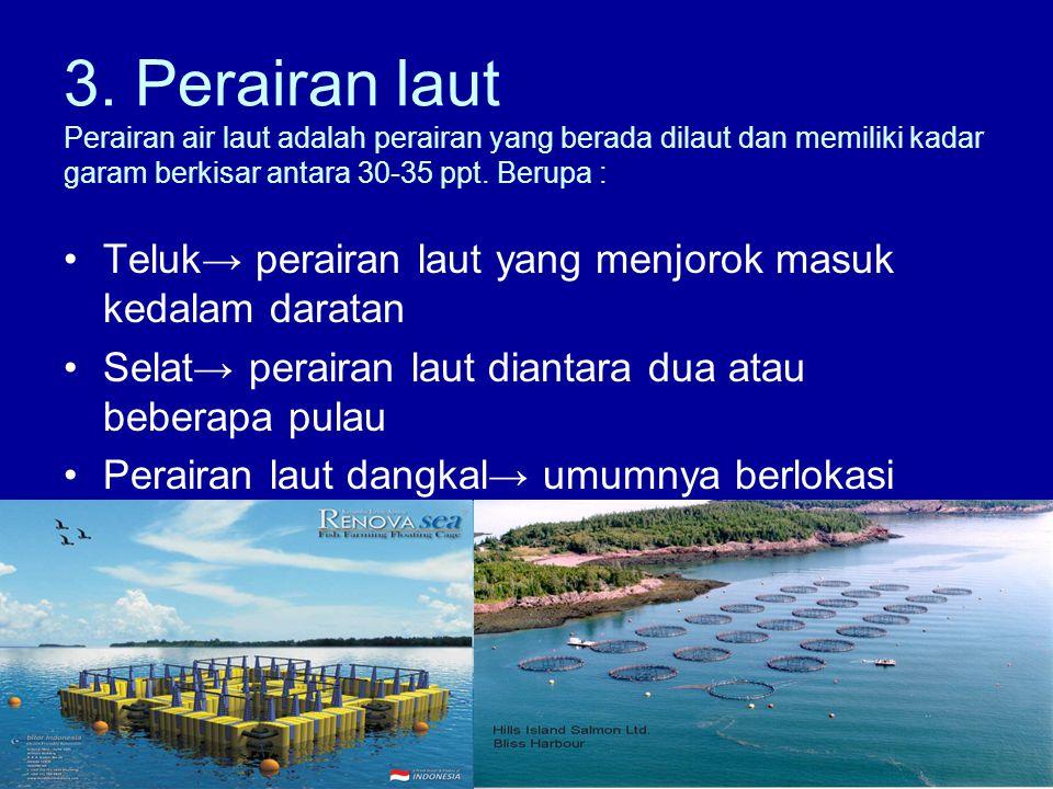 3. Perairan laut Perairan air laut adalah perairan yang berada dilaut dan memiliki kadar garam berkisar antara 30-35 ppt. Berupa : •Teluk→ perairan la