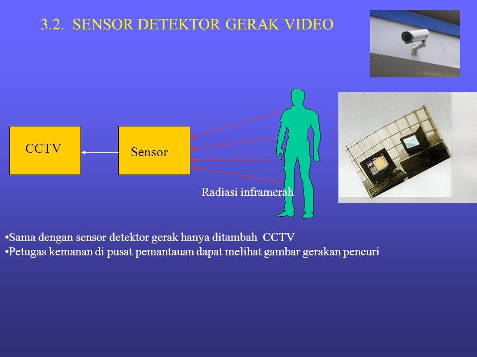 3.2. SENSOR DETEKTOR GERAK VIDEO Sensor Radiasi inframerah CCTV •Sama dengan sensor detektor gerak hanya ditambah CCTV •Petugas kemanan di pusat peman