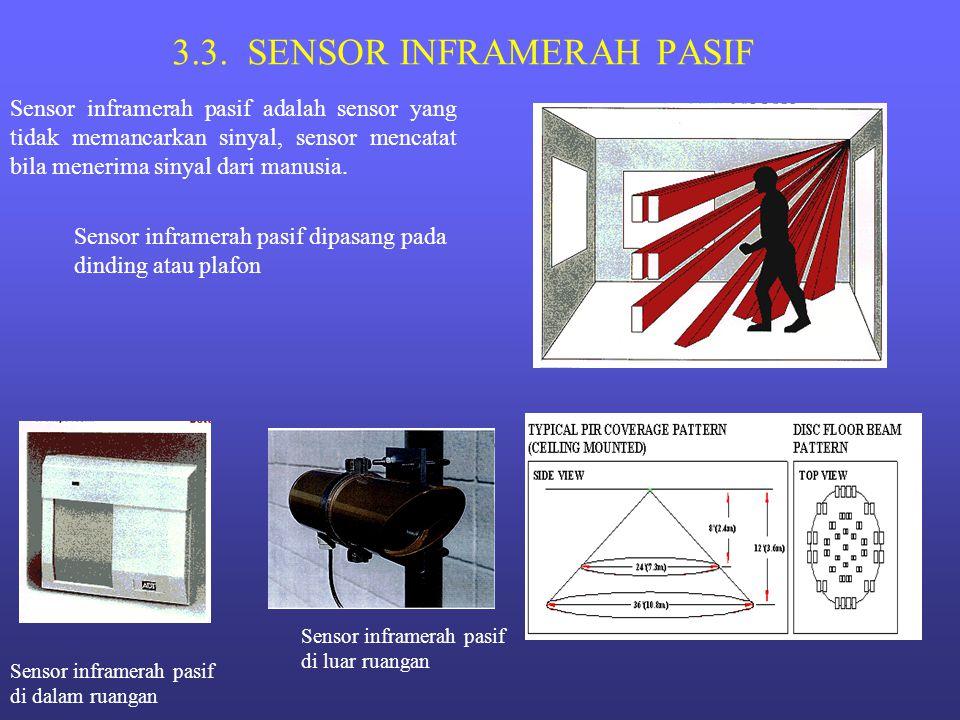 3.3. SENSOR INFRAMERAH PASIF Sensor inframerah pasif adalah sensor yang tidak memancarkan sinyal, sensor mencatat bila menerima sinyal dari manusia. S