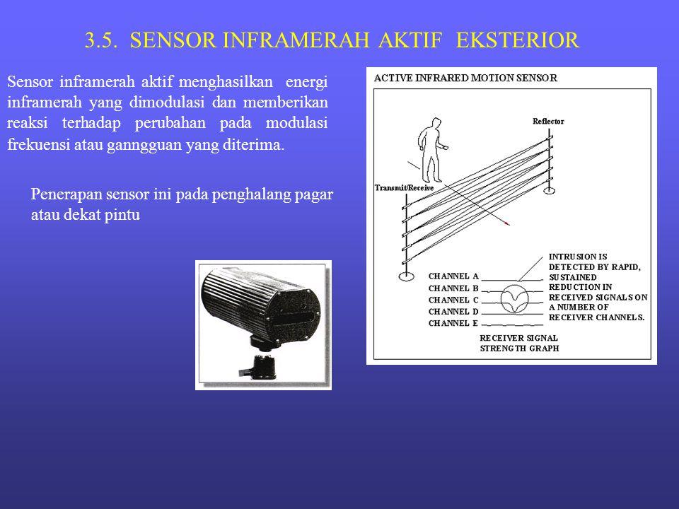 3.5. SENSOR INFRAMERAH AKTIF EKSTERIOR Sensor inframerah aktif menghasilkan energi inframerah yang dimodulasi dan memberikan reaksi terhadap perubahan