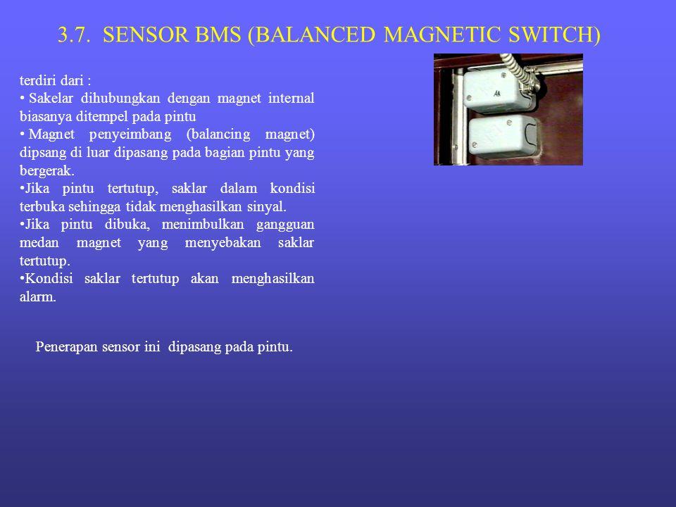 3.7. SENSOR BMS (BALANCED MAGNETIC SWITCH) terdiri dari : • Sakelar dihubungkan dengan magnet internal biasanya ditempel pada pintu • Magnet penyeimba