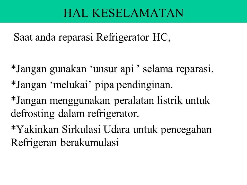 HAL KESELAMATAN Saat anda reparasi Refrigerator HC, *Jangan gunakan 'unsur api ' selama reparasi.