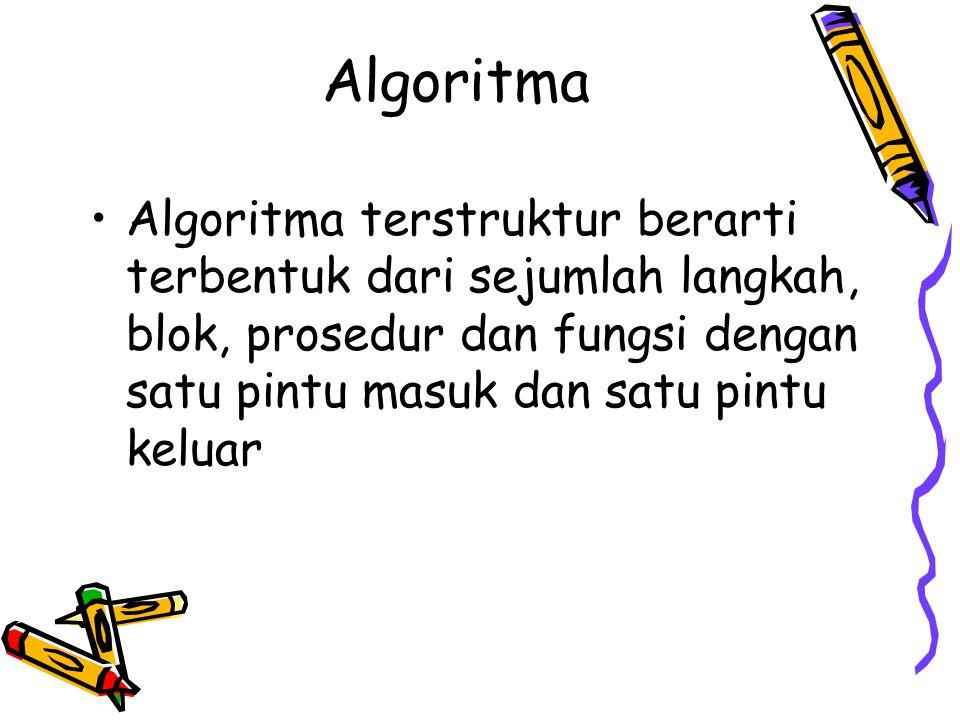 Algoritma •Algoritma terstruktur berarti terbentuk dari sejumlah langkah, blok, prosedur dan fungsi dengan satu pintu masuk dan satu pintu keluar