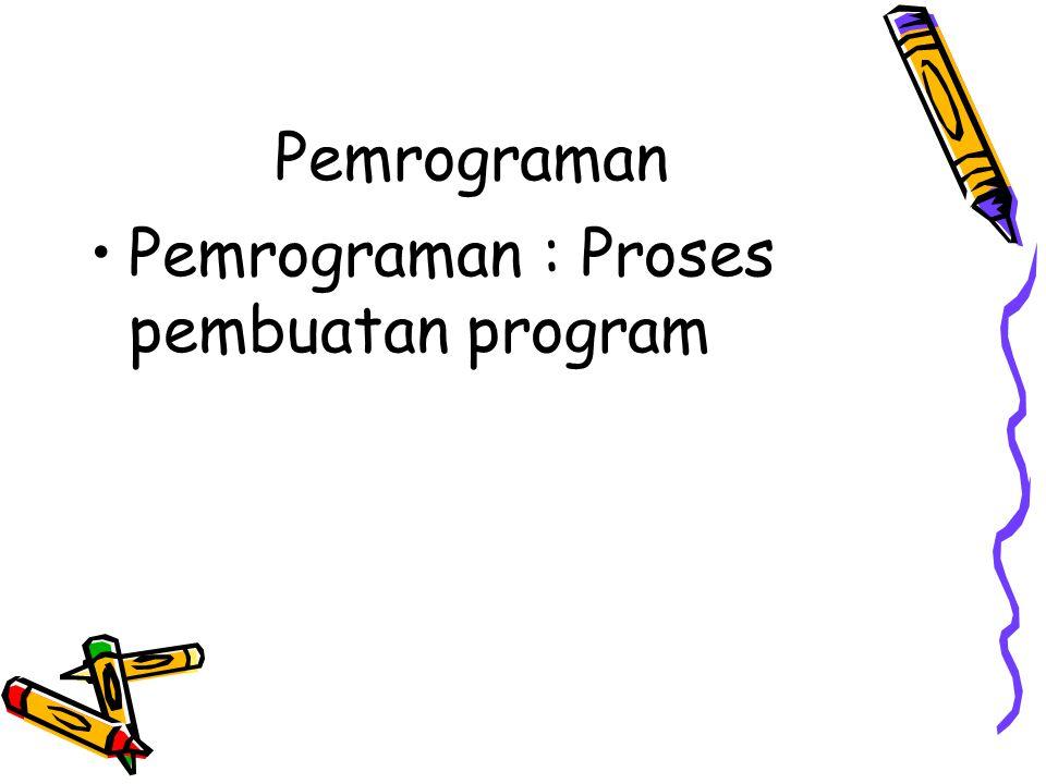 Pemrograman •Pemrograman : Proses pembuatan program