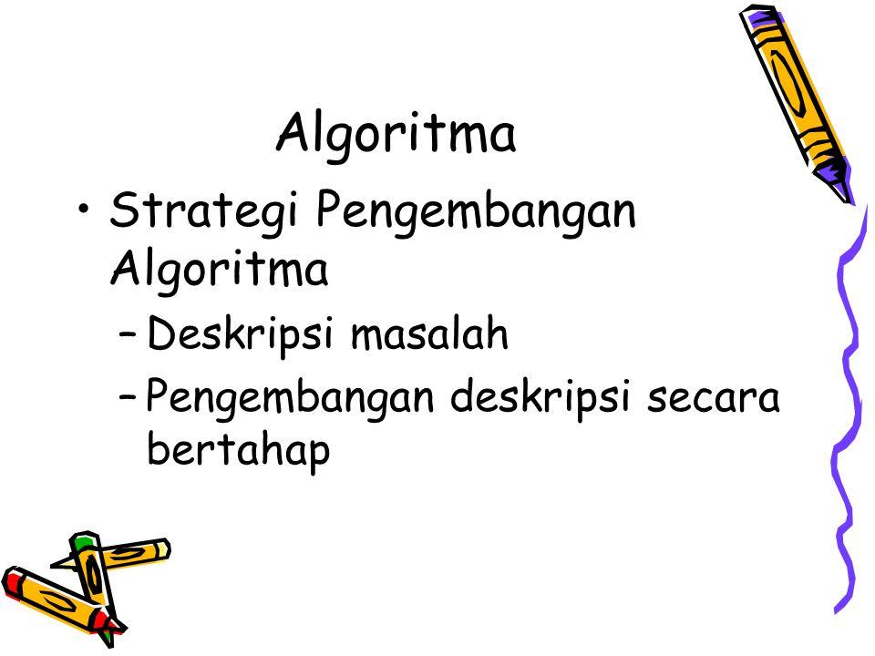 Algoritma •Strategi Pengembangan Algoritma –Deskripsi masalah –Pengembangan deskripsi secara bertahap