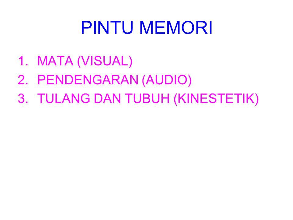 PINTU MEMORI 1.MATA (VISUAL) 2.PENDENGARAN (AUDIO) 3.TULANG DAN TUBUH (KINESTETIK)