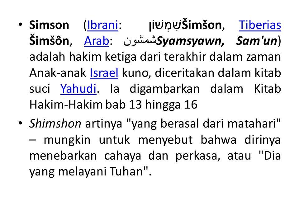 • Simson (Ibrani: שִׁמְשׁוֹן Šimšon, Tiberias Šimšôn, Arab: شمشون Syamsyawn, Sam'un) adalah hakim ketiga dari terakhir dalam zaman Anak-anak Israel ku