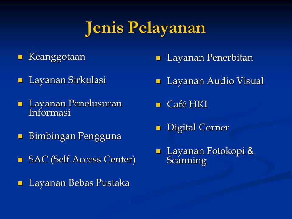 Jenis Pelayanan  Keanggotaan  Layanan Sirkulasi  Layanan Penelusuran Informasi  Bimbingan Pengguna  SAC (Self Access Center)  Layanan Bebas Pustaka  Layanan Penerbitan  Layanan Audio Visual  Café HKI  Digital Corner  Layanan Fotokopi & Scanning