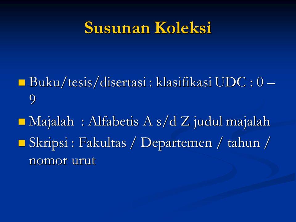 Susunan Koleksi  Buku/tesis/disertasi : klasifikasi UDC : 0 – 9  Majalah : Alfabetis A s/d Z judul majalah  Skripsi : Fakultas / Departemen / tahun / nomor urut