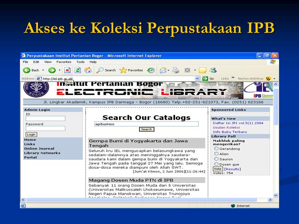 Akses ke Koleksi Perpustakaan IPB