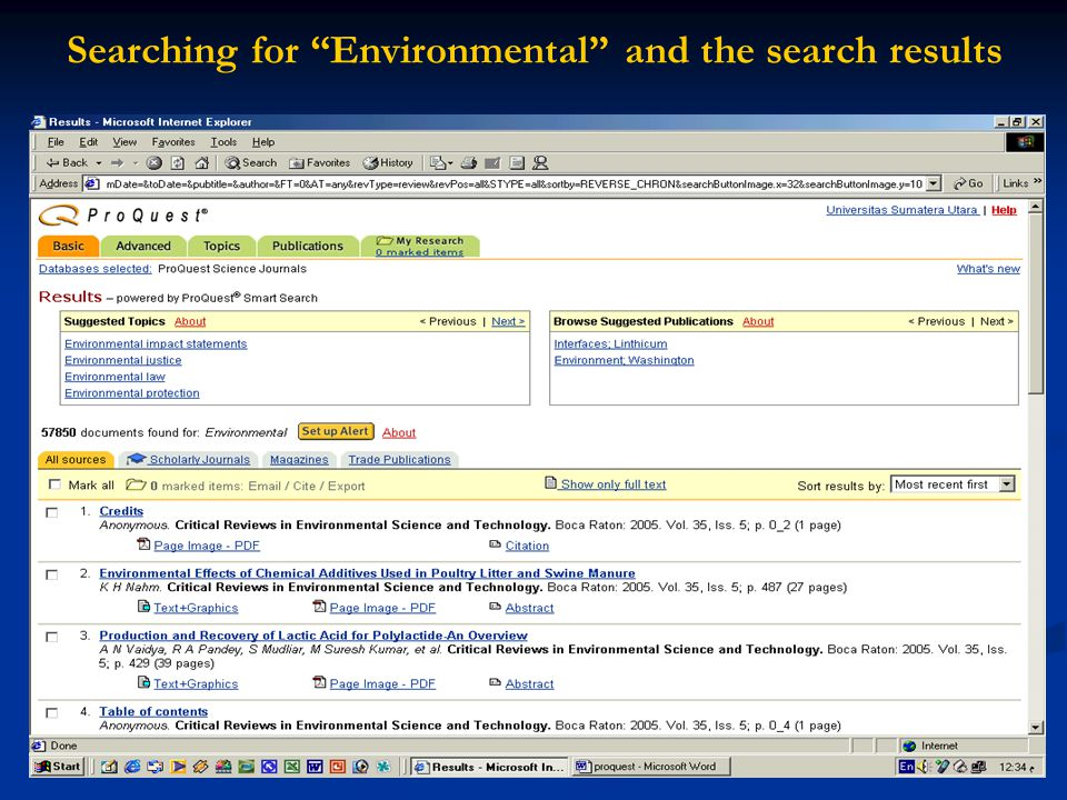 "Searching for ""Environmental"" and the search results"