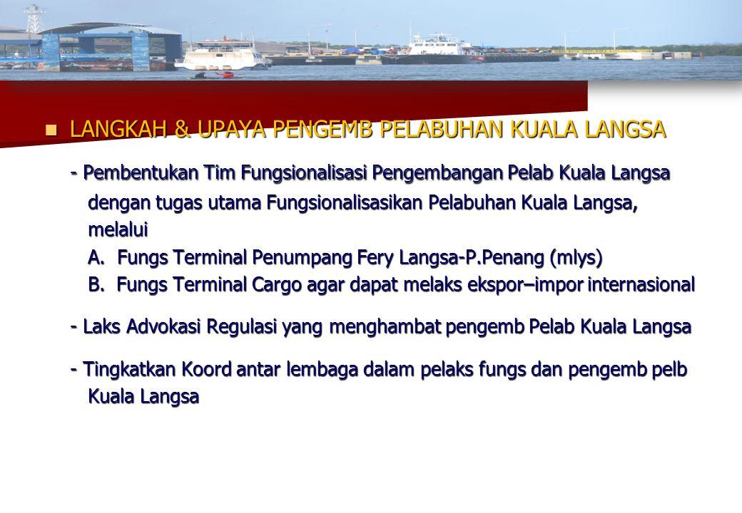 LANGKAH & UPAYA PENGEMB PELABUHAN KUALA LANGSA - Pembentukan Tim Fungsionalisasi Pengembangan Pelab Kuala Langsa dengan tugas utama Fungsionalisasik