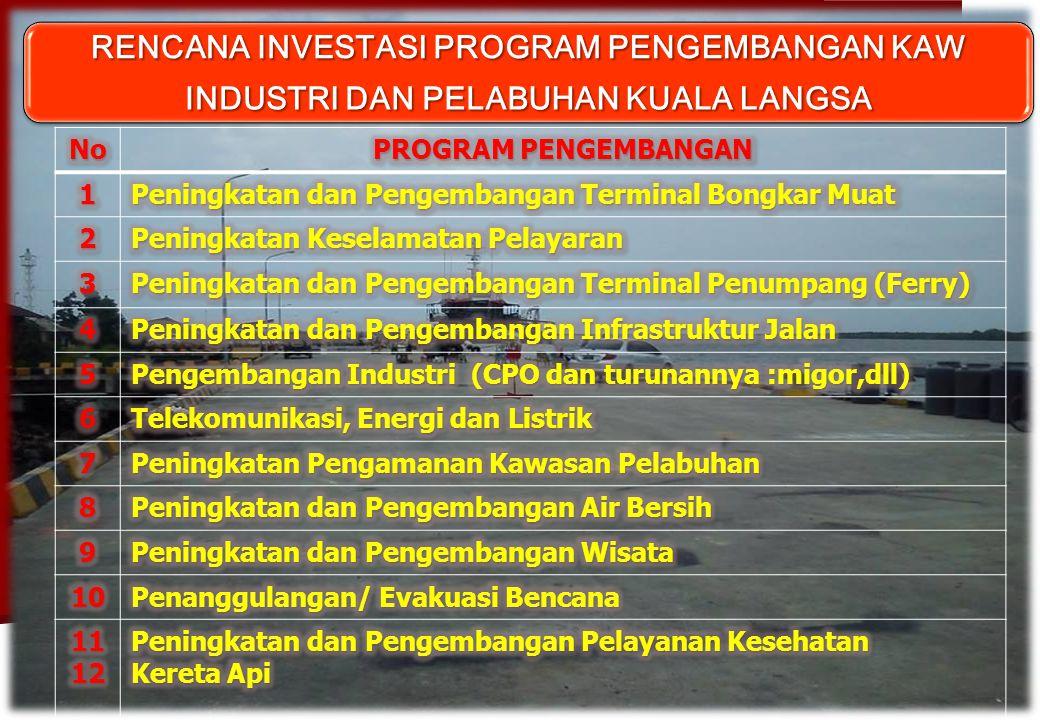  LANGKAH & UPAYA PENGEMB PELABUHAN KUALA LANGSA - Pembentukan Tim Fungsionalisasi Pengembangan Pelab Kuala Langsa dengan tugas utama Fungsionalisasikan Pelabuhan Kuala Langsa, dengan tugas utama Fungsionalisasikan Pelabuhan Kuala Langsa, melalui melalui A.