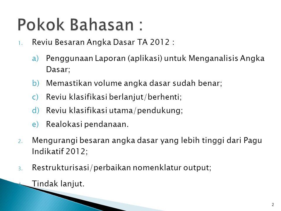 1. Reviu Besaran Angka Dasar TA 2012 : a)Penggunaan Laporan (aplikasi) untuk Menganalisis Angka Dasar; b)Memastikan volume angka dasar sudah benar; c)