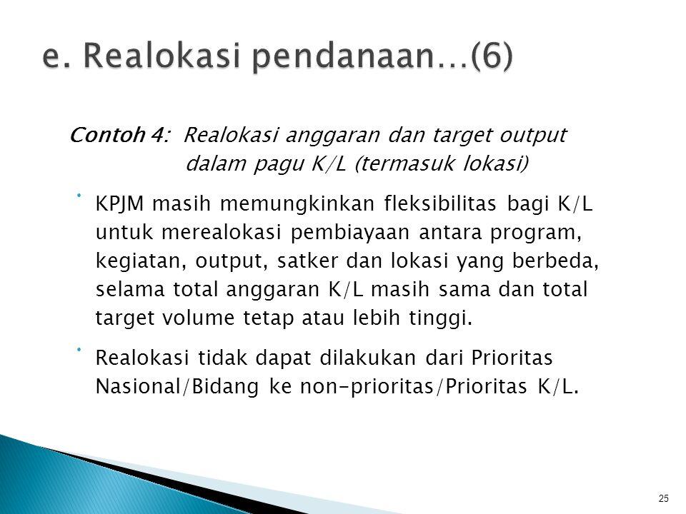 Contoh 4: Realokasi anggaran dan target output dalam pagu K/L (termasuk lokasi) • KPJM masih memungkinkan fleksibilitas bagi K/L untuk merealokasi pem