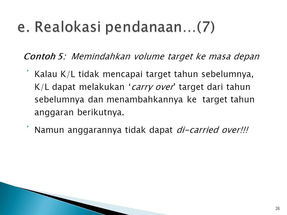 Contoh 5: Memindahkan volume target ke masa depan • Kalau K/L tidak mencapai target tahun sebelumnya, K/L dapat melakukan 'carry over' target dari tah