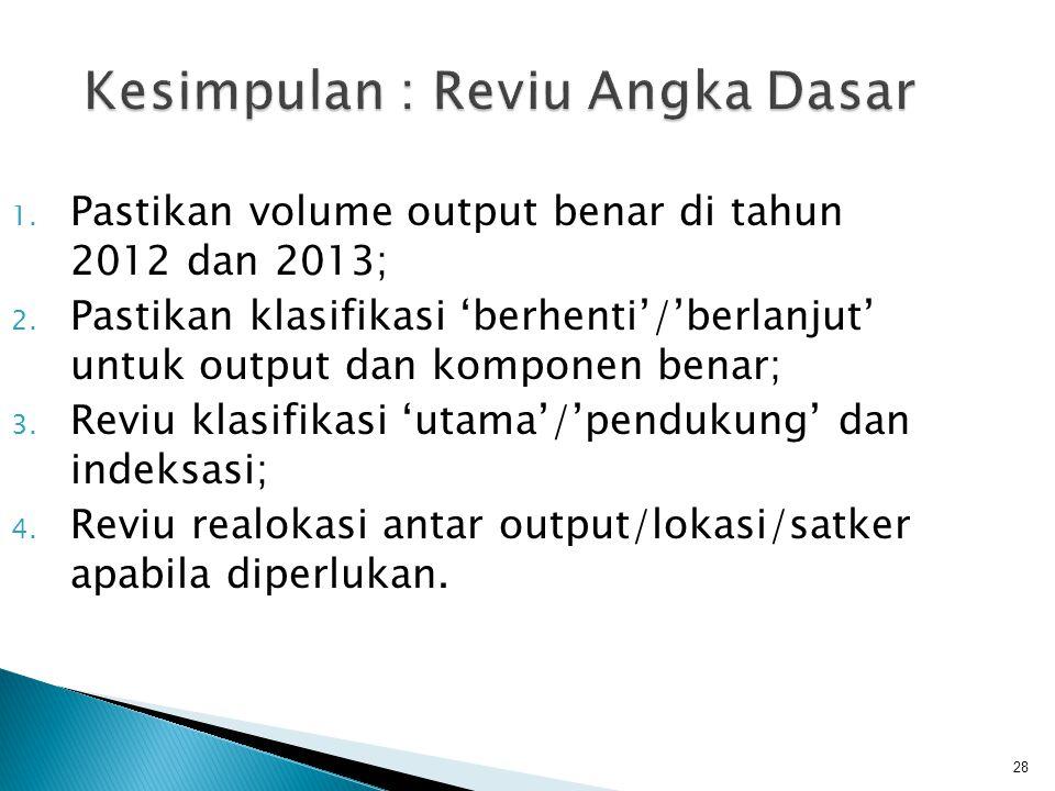 28 Kesimpulan : Reviu Angka Dasar 1. Pastikan volume output benar di tahun 2012 dan 2013; 2. Pastikan klasifikasi 'berhenti'/'berlanjut' untuk output