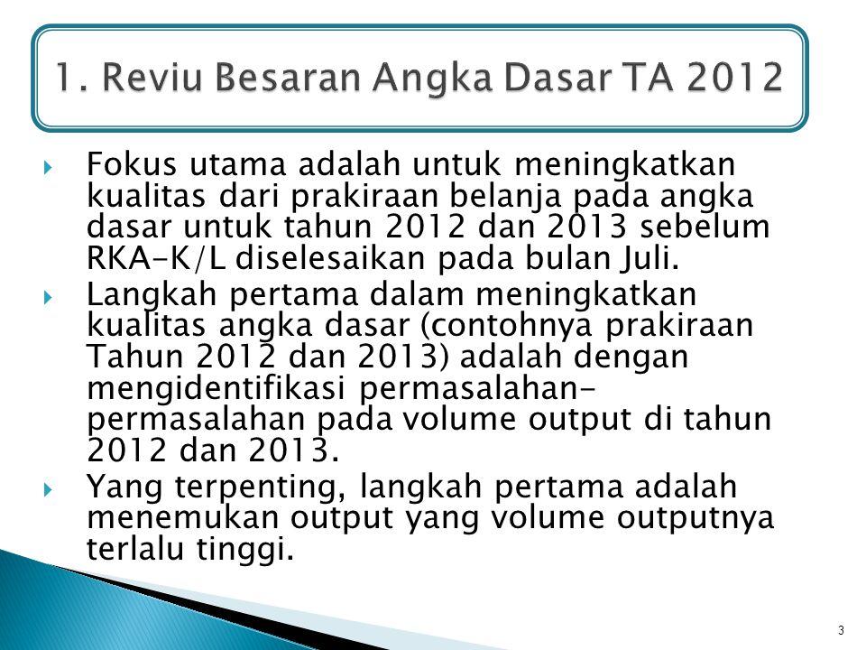  Fokus utama adalah untuk meningkatkan kualitas dari prakiraan belanja pada angka dasar untuk tahun 2012 dan 2013 sebelum RKA-K/L diselesaikan pada b