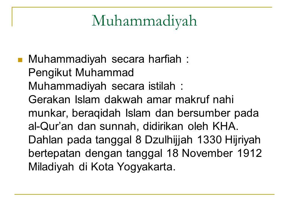 Muhammadiyah  Muhammadiyah secara harfiah : Pengikut Muhammad Muhammadiyah secara istilah : Gerakan Islam dakwah amar makruf nahi munkar, beraqidah Islam dan bersumber pada al-Qur'an dan sunnah, didirikan oleh KHA.