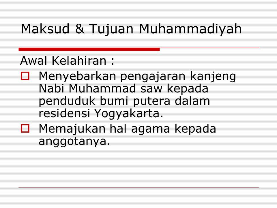Maksud & Tujuan Muhammadiyah Awal Kelahiran :  Menyebarkan pengajaran kanjeng Nabi Muhammad saw kepada penduduk bumi putera dalam residensi Yogyakarta.