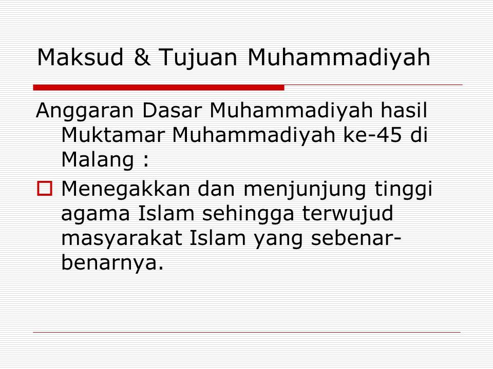 Maksud & Tujuan Muhammadiyah Anggaran Dasar Muhammadiyah hasil Muktamar Muhammadiyah ke-45 di Malang :  Menegakkan dan menjunjung tinggi agama Islam sehingga terwujud masyarakat Islam yang sebenar- benarnya.