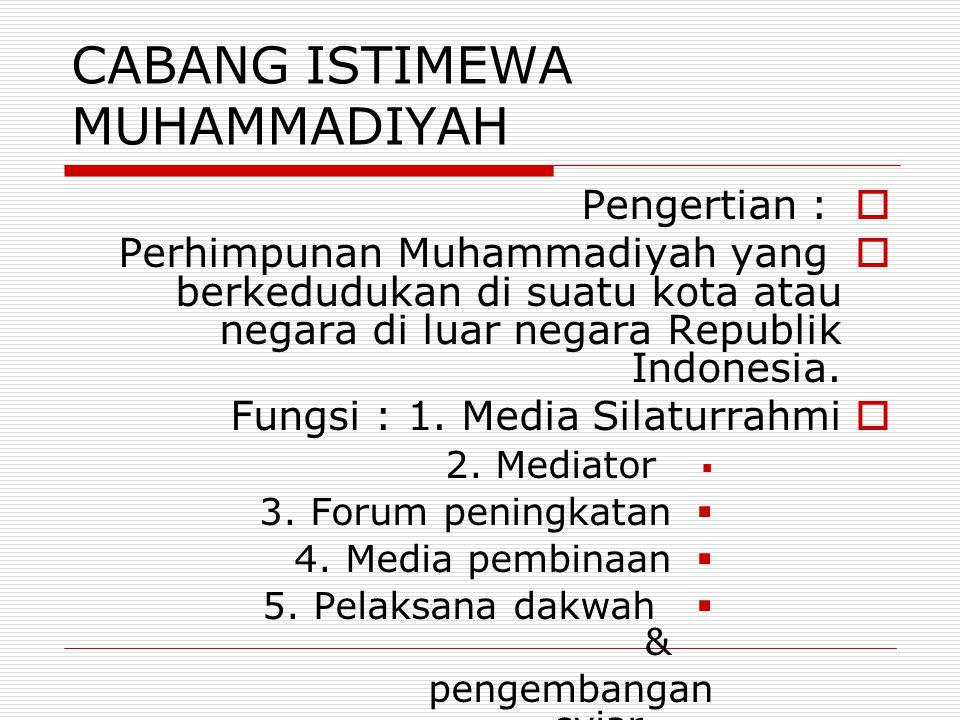 CABANG ISTIMEWA MUHAMMADIYAH  Pengertian :  Perhimpunan Muhammadiyah yang berkedudukan di suatu kota atau negara di luar negara Republik Indonesia.