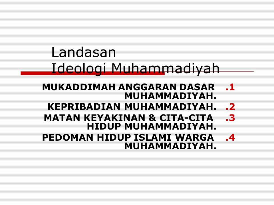 Landasan Ideologi Muhammadiyah 1.MUKADDIMAH ANGGARAN DASAR MUHAMMADIYAH. 2.KEPRIBADIAN MUHAMMADIYAH. 3.MATAN KEYAKINAN & CITA-CITA HIDUP MUHAMMADIYAH.