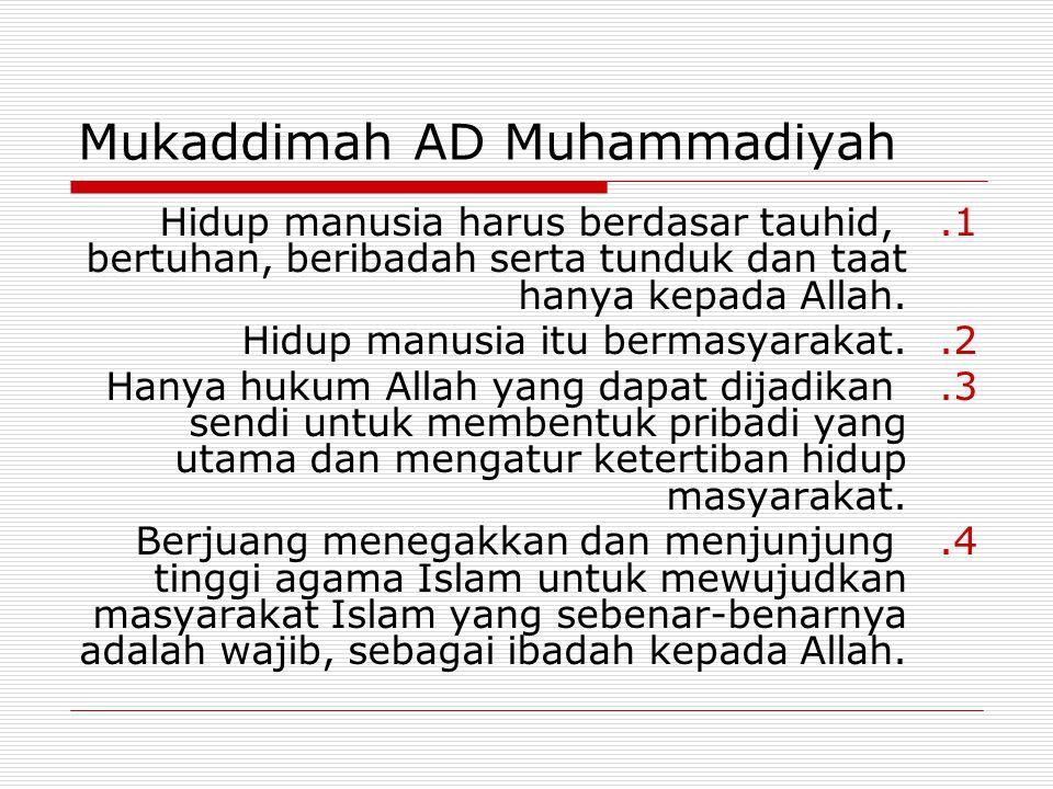 Mukaddimah AD Muhammadiyah 1.Hidup manusia harus berdasar tauhid, bertuhan, beribadah serta tunduk dan taat hanya kepada Allah. 2.Hidup manusia itu be