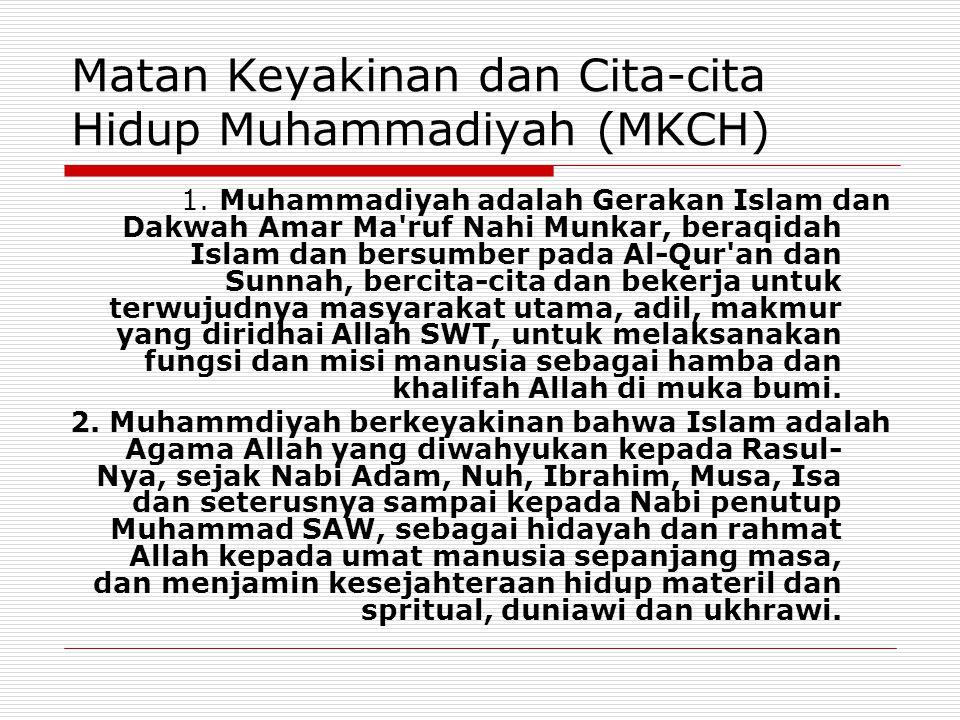 Matan Keyakinan dan Cita-cita Hidup Muhammadiyah (MKCH) 1. Muhammadiyah adalah Gerakan Islam dan Dakwah Amar Ma'ruf Nahi Munkar, beraqidah Islam dan b