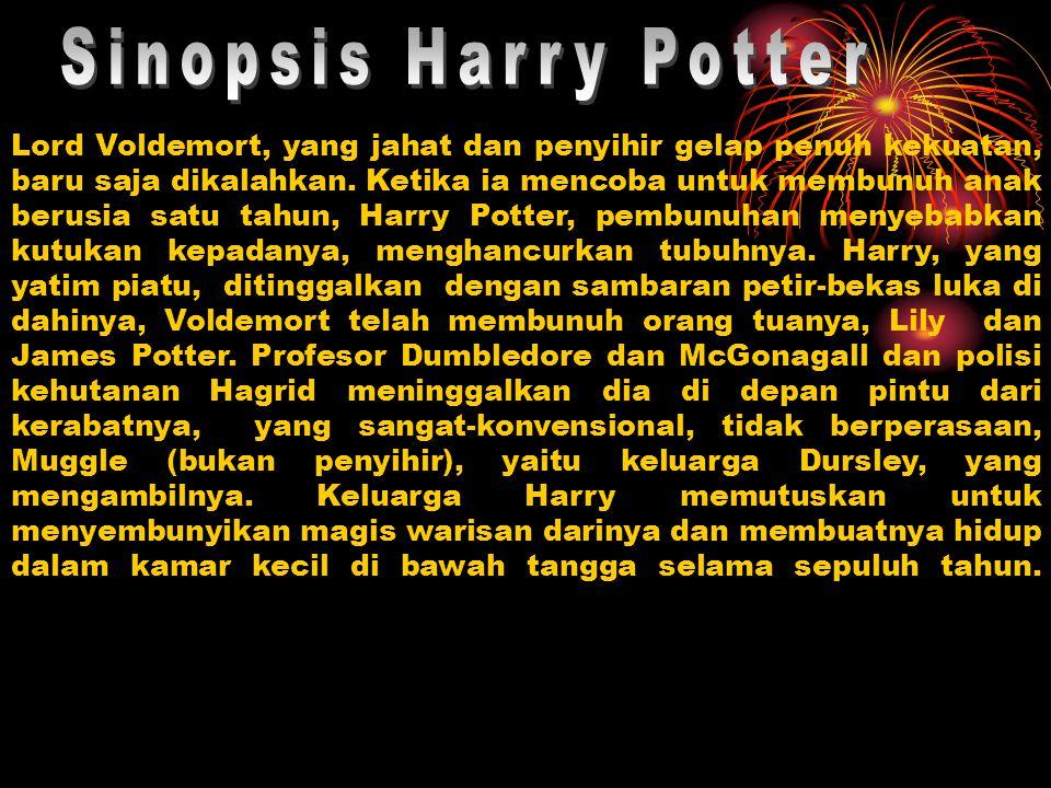 Lord Voldemort, yang jahat dan penyihir gelap penuh kekuatan, baru saja dikalahkan. Ketika ia mencoba untuk membunuh anak berusia satu tahun, Harry Po