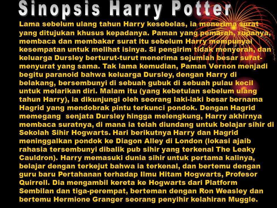 Setelah tiba, tempat-tempat Topi Seleksi Harry, Ron dan Hermione di Gryffindor House.