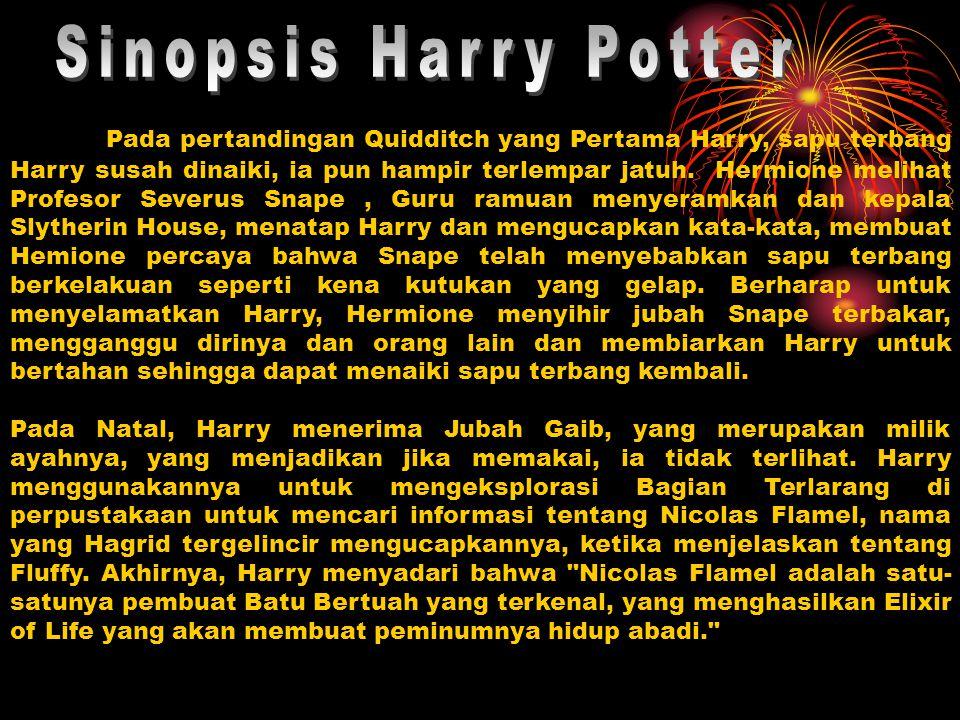 Pada pertandingan Quidditch yang Pertama Harry, sapu terbang Harry susah dinaiki, ia pun hampir terlempar jatuh. Hermione melihat Profesor Severus Sna
