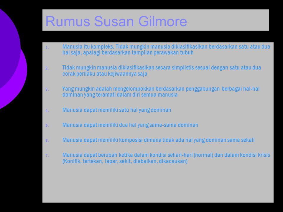 Rumus Susan Gilmore 1. Manusia itu kompleks. Tidak mungkin manusia diklasifikasikan berdasarkan satu atau dua hal saja, apalagi berdasarkan tampilan p