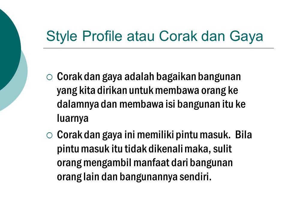 Style Profile atau Corak dan Gaya  Corak dan gaya adalah bagaikan bangunan yang kita dirikan untuk membawa orang ke dalamnya dan membawa isi bangunan