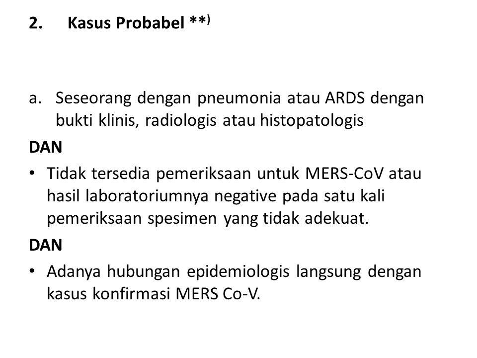 2.Kasus Probabel ** ) a.Seseorang dengan pneumonia atau ARDS dengan bukti klinis, radiologis atau histopatologis DAN • Tidak tersedia pemeriksaan untu