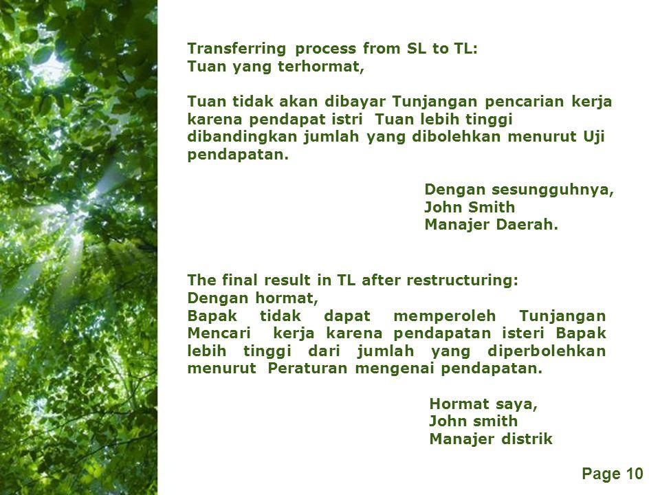 Free Powerpoint Templates Page 10 The final result in TL after restructuring: Dengan hormat, Bapak tidak dapat memperoleh Tunjangan Mencari kerja kare