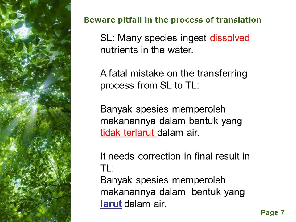 Free Powerpoint Templates Page 7 Beware pitfall in the process of translation SL: Many species ingest dissolved nutrients in the water.