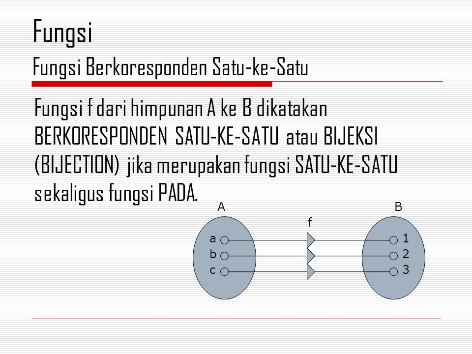 Fungsi f dari himpunan A ke B dikatakan BERKORESPONDEN SATU-KE-SATU atau BIJEKSI (BIJECTION) jika merupakan fungsi SATU-KE-SATU sekaligus fungsi PADA.