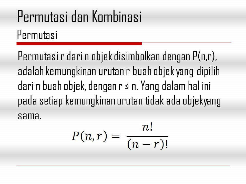 Permutasi r dari n objek disimbolkan dengan P(n,r), adalah kemungkinan urutan r buah objek yang dipilih dari n buah objek, dengan r ≤ n.