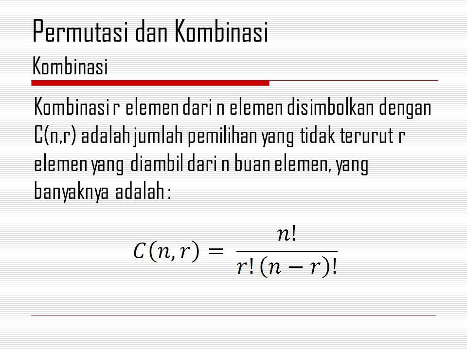 Kombinasi r elemen dari n elemen disimbolkan dengan C(n,r) adalah jumlah pemilihan yang tidak terurut r elemen yang diambil dari n buan elemen, yang banyaknya adalah : Kombinasi Permutasi dan Kombinasi