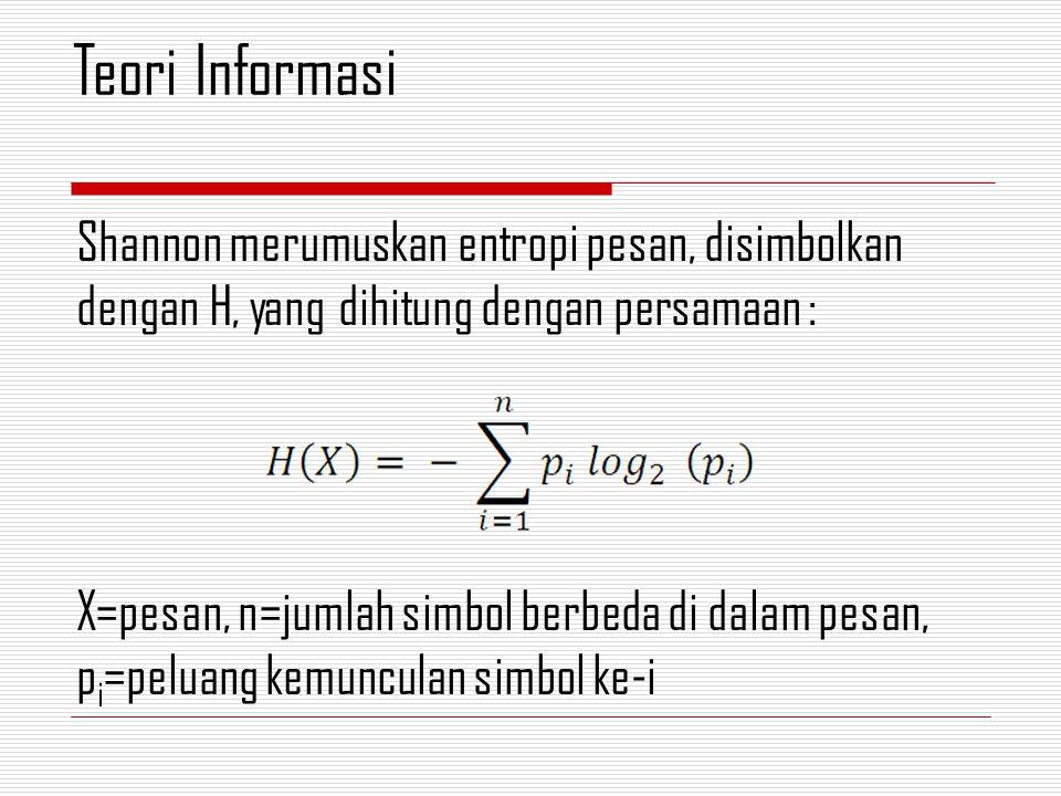 Shannon merumuskan entropi pesan, disimbolkan dengan H, yang dihitung dengan persamaan : X=pesan, n=jumlah simbol berbeda di dalam pesan, p i =peluang kemunculan simbol ke-i Teori Informasi