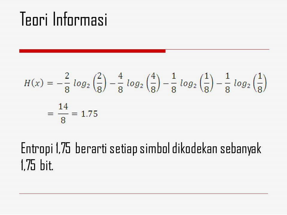 Entropi 1,75 berarti setiap simbol dikodekan sebanyak 1,75 bit. Teori Informasi