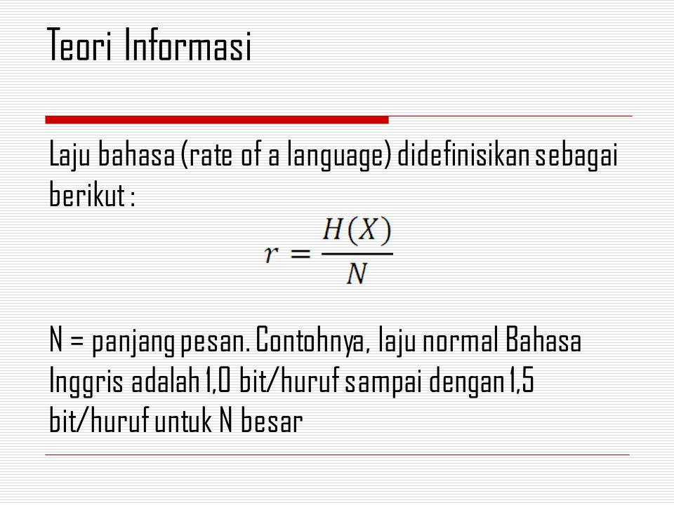 Laju bahasa (rate of a language) didefinisikan sebagai berikut : N = panjang pesan.