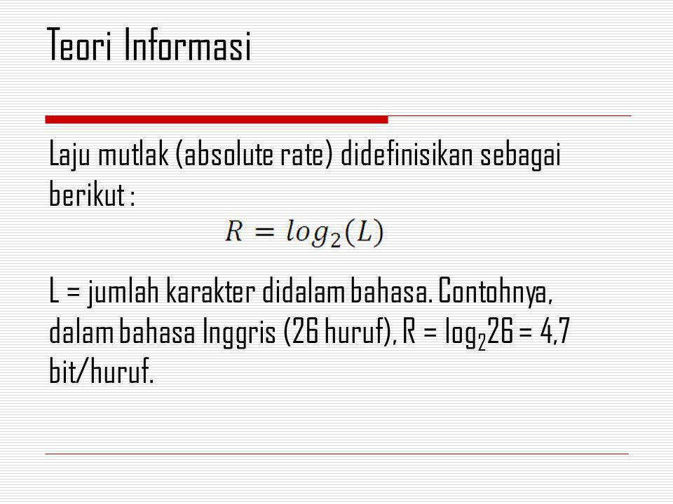 Laju mutlak (absolute rate) didefinisikan sebagai berikut : L = jumlah karakter didalam bahasa.