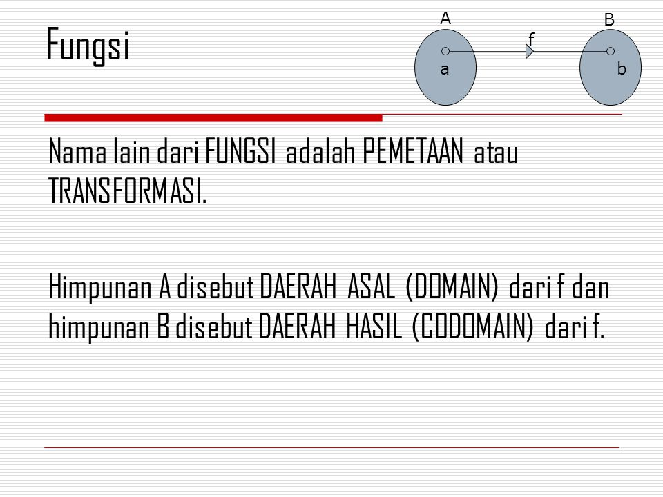 Nama lain dari FUNGSI adalah PEMETAAN atau TRANSFORMASI. Himpunan A disebut DAERAH ASAL (DOMAIN) dari f dan himpunan B disebut DAERAH HASIL (CODOMAIN)