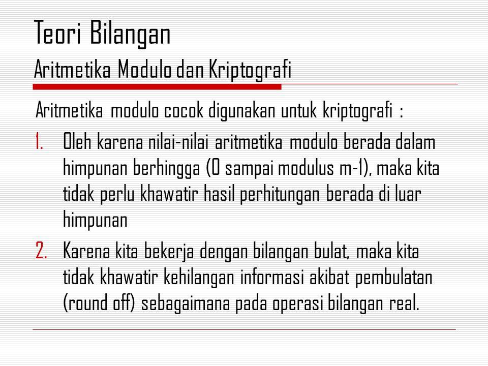 Aritmetika modulo cocok digunakan untuk kriptografi : 1.Oleh karena nilai-nilai aritmetika modulo berada dalam himpunan berhingga (0 sampai modulus m-