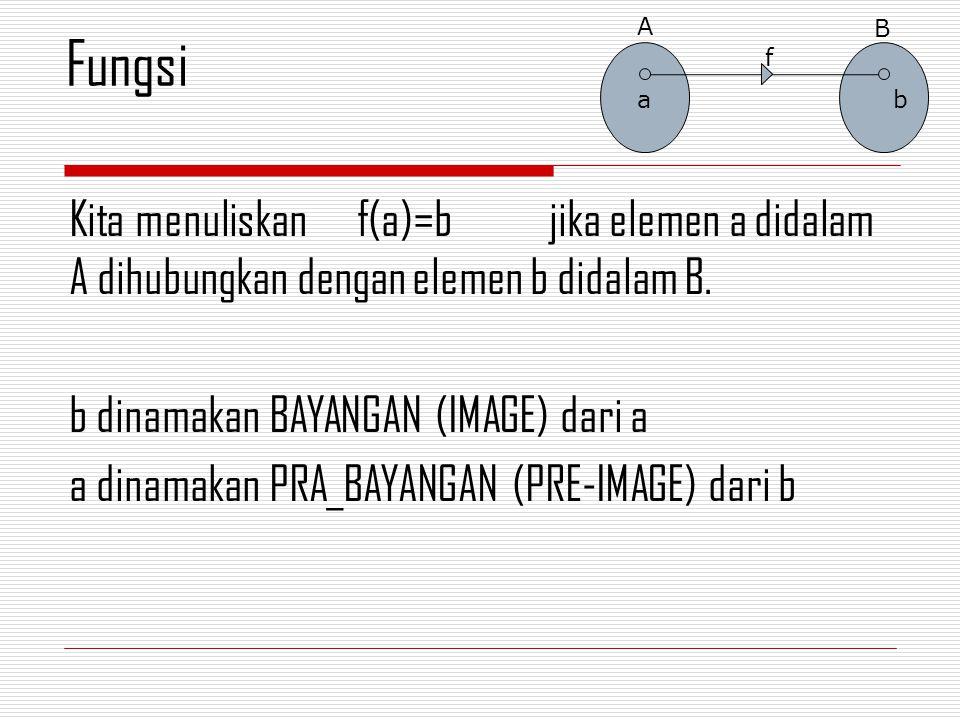 Kita menuliskan f(a)=bjika elemen a didalam A dihubungkan dengan elemen b didalam B.