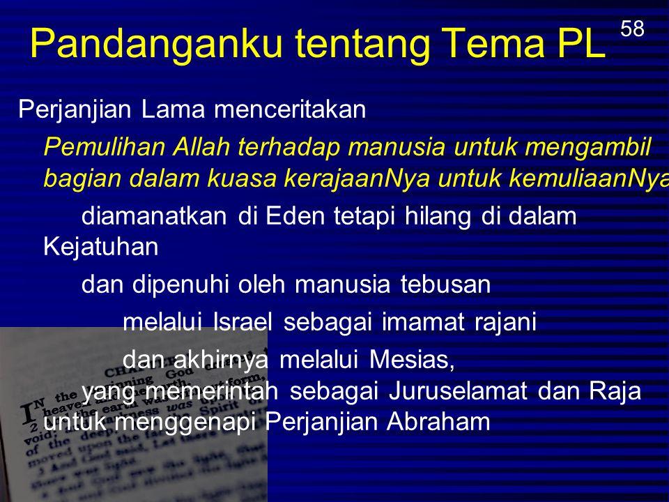 Perjanjian Nuh Adam memerintah bersama Tuhan (Kej. 1:26, 28; 2:19) Iblis memerintah sebagai penguasa dunia (Kej. 3:15; 2 Kor. 4:4) Perjanjian Abraham