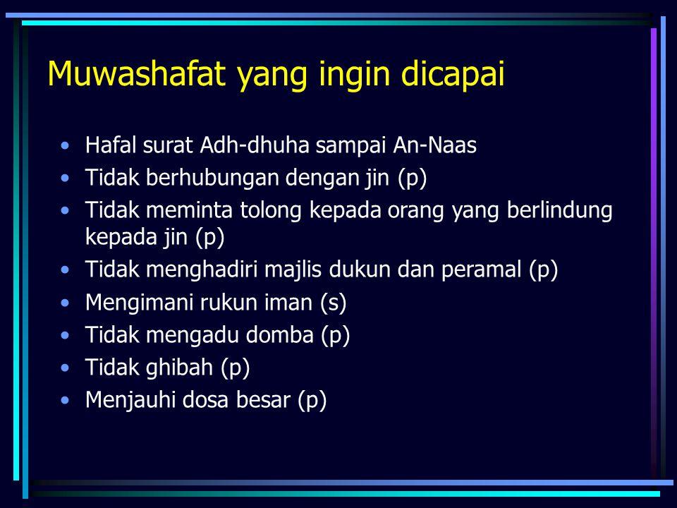 Muwashafat yang ingin dicapai •Hafal surat Adh-dhuha sampai An-Naas •Tidak berhubungan dengan jin (p) •Tidak meminta tolong kepada orang yang berlindung kepada jin (p) •Tidak menghadiri majlis dukun dan peramal (p) •Mengimani rukun iman (s) •Tidak mengadu domba (p) •Tidak ghibah (p) •Menjauhi dosa besar (p)